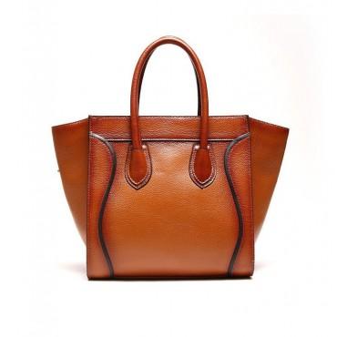 Genuine Leather Satchel Bag Brown 75573
