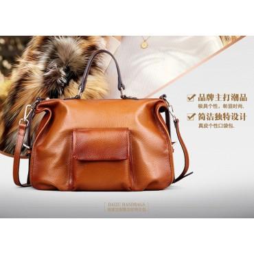 Genuine Leather Tote Bag Brown 75575