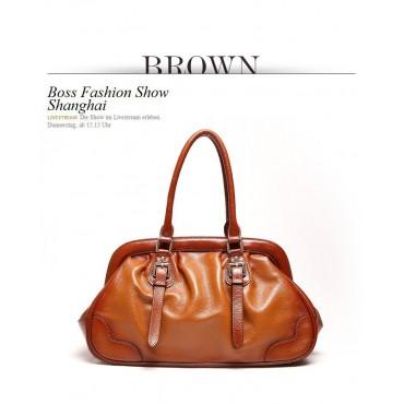 Genuine Leather Tote Bag Brown 75576