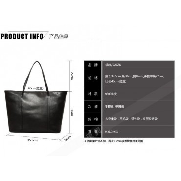 Genuine Leather Tote Bag Black 75579