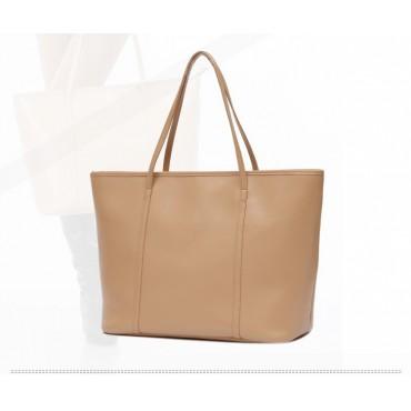 Genuine Leather Tote Bag Apricot 75579