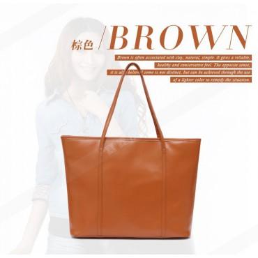 Genuine Leather Tote Bag Brown 75579