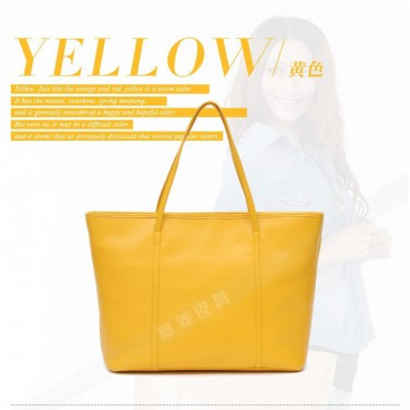 Genuine Leather Tote Bag Yellow 75579