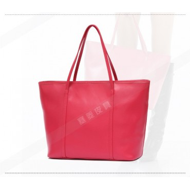 Genuine Leather Tote Bag Magenta 75579