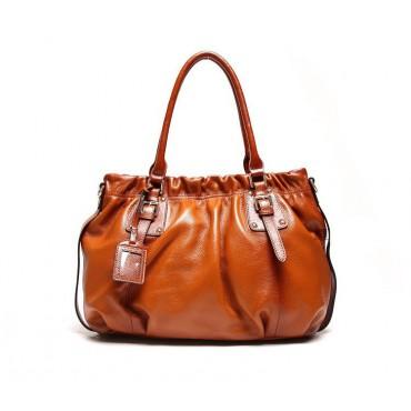 Genuine Leather Tote Bag Brown 75580