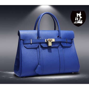 Sac à main cartable en cuir Bleu 75702