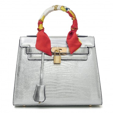Rosaire « Capucine » Padlock Top Handle Bag Cowhide Leather with Lizard Pattern in Silver Color 75164