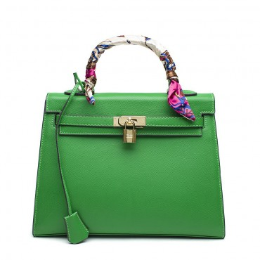 Rosaire « Capucine » Padlock Epsom Leather Top Handle Bag in Green Color 75165