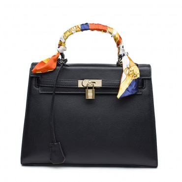 Rosaire « Capucine » Padlock Epsom Leather Top Handle Bag in Black Color 75165