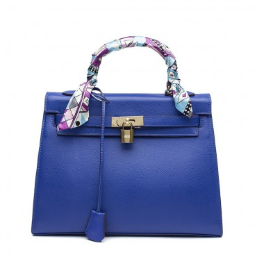 Rosaire « Capucine » Padlock Epsom Leather Top Handle Bag in Blue Color 75165