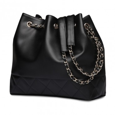 Rosaire « Brielle » Drawstring Bucket Bag made of Cowhide Leather in Black Color 75105