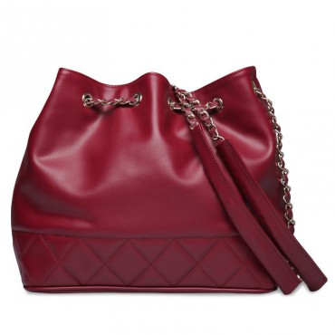 Rosaire « Brielle » Drawstring Bucket Bag made of Cowhide Leather in Red Color 75105