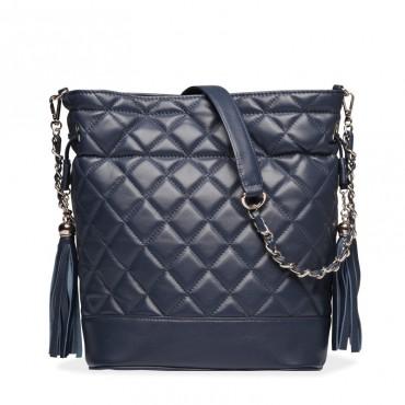 Chevron Genuine Leather Crossbody Bag Dark Blue 75106