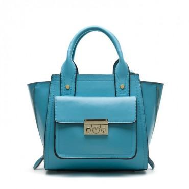 Faith Genuine Leather Satchel Bag Blue 75174
