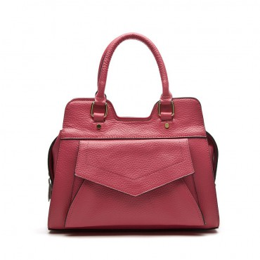 Kelsey Genuine Leather Tote Bag Magenta 75175